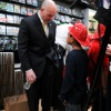 Fire Commissioner Salvatore J. Cassano with a Student from PS 51