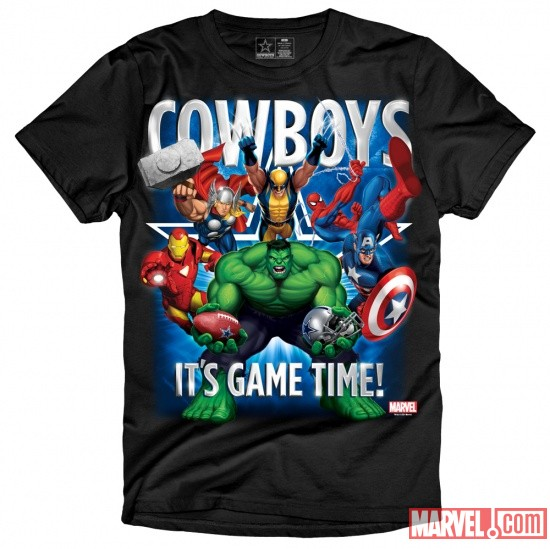 The Marvel/Dallas Cowboys Game Time T-Shirt in Black