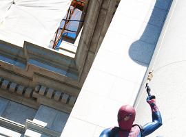 Spider-Man webbing down the American Museum of Natural History