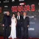 "Robert Downey Jr poses with Chinese costar Bingbing Fan on the ""Iron Man 3"" World Tour"