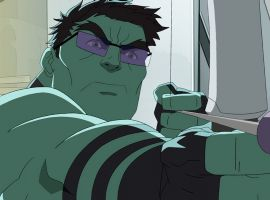 A Hulked out Hawkeye in Marvel's Avengers Assemble