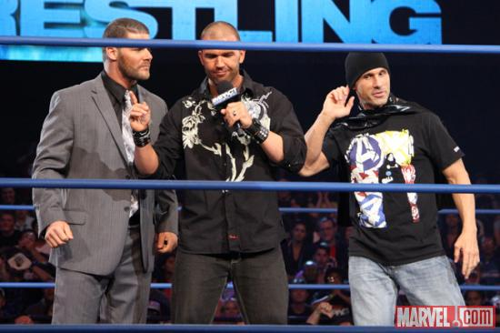 TNA wrestler Christopher Daniels wearing a Marvel Heroes MMO t-shirt on Impact Wrestling