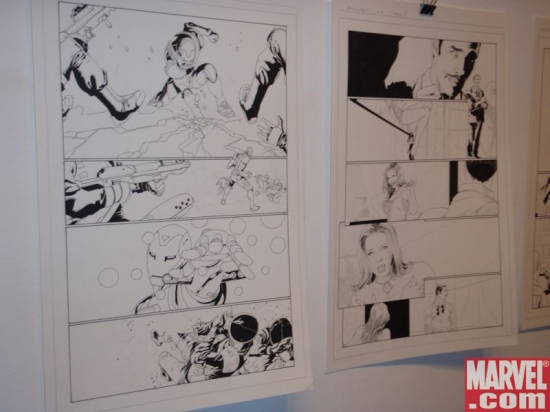 Original INVINCIBLE IRON MAN pages by Salvador Larroca on exhibit